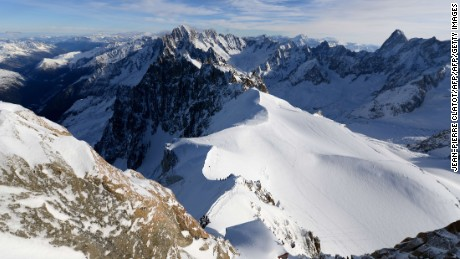 The Aiguille du Midi accesses the Vallee Blanche and Mont Blanc massif.