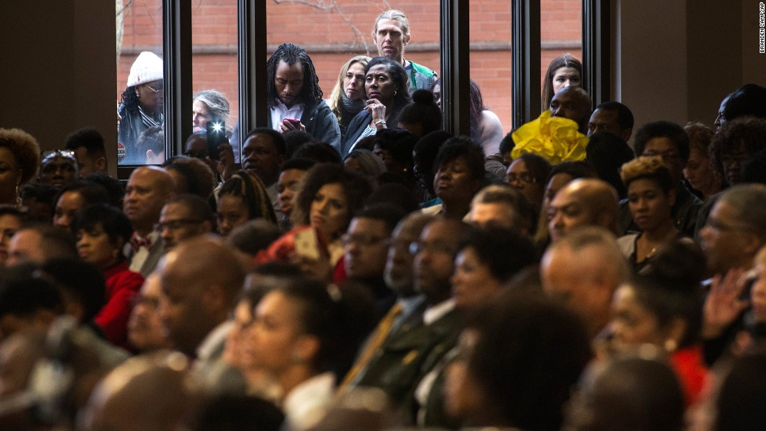 People attend a commemorative service for the Rev. Martin Luther King Jr. at Ebenezer Baptist Church in Atlanta on Monday, January 16. The third Monday in January each year is a federal holiday in honor of the American civil rights leader.