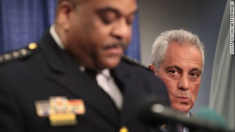 CHICAGO, IL - JANUARY 13:  Chicago Mayor Rahm Emanuel listens as Police Superintendent Eddie Johnson speaks at a press conference called by U.S. Attorney General Loretta Lynch on January 13, 2017 in Chicago, Illinois. Lynch was in Chicago to announce the release of a report which cited widespread abuses by officers in the Chicago police department following a 13-month investigation. (Photo by Scott Olson/Getty Images)