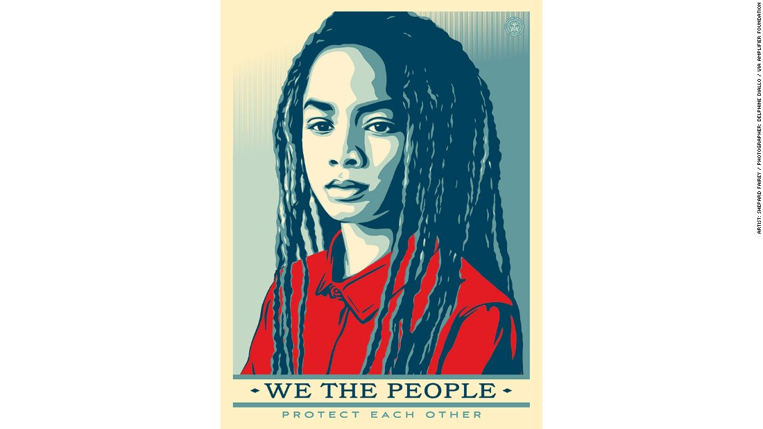 "Fairey said he created the images in order to ""make sure people remember that 'we the people' means everyone."" The free to download posters were released online in partnership with the <a href=""http://theamplifierfoundation.org/wtp_wmw_highresart/"" target=""_blank"">Amplifier Foundation</a>."