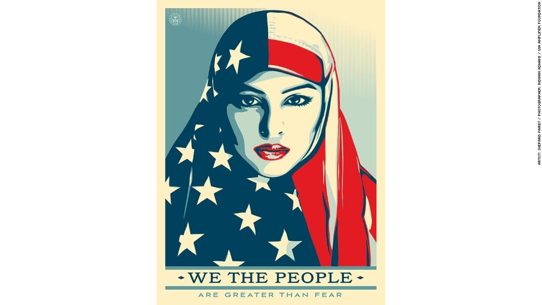"Artist Shepard Fairey has released a set of three politically charged posters titled ""We the People."" The posters feature a Muslim woman, a Latina woman and an African-American woman."