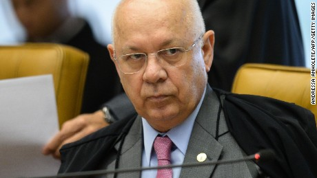 Brazil's Supreme Federal Court (STF) Minister Teori Zavascki is depicted during  the March 31, 2016 session in Brasilia.  Zavascki, rapporteur in the Petrobras scandal for the STF, was among the passengers of the twin-engine Beechcraft King Air C-90 light aircraft that crashed near Paraty, state of Rio de Janeiro, Brazil, on January 19, 2017, his son Prehn Zavascki said. / AFP / Andressa Anholete        (Photo credit should read ANDRESSA ANHOLETE/AFP/Getty Images)