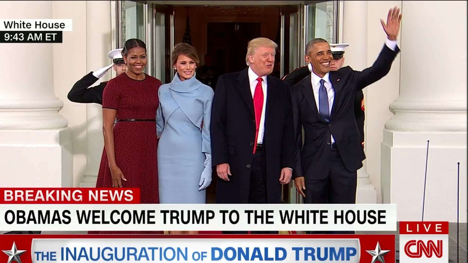 the obamas greet the trumps at white house cnn video