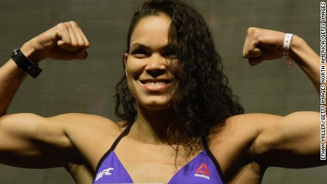 LAS VEGAS, NV - JULY 08:  Mixed martial artist Amanda Nunes poses on the scale during her weigh-in for UFC 200 at T-Mobile Arena on July 8, 2016 in Las Vegas, Nevada. Nunes will challenge Meisha Tate for her UFC women's bantamweight title on July 9 at T-Mobile Arena.  (Photo by Ethan Miller/Getty Images)