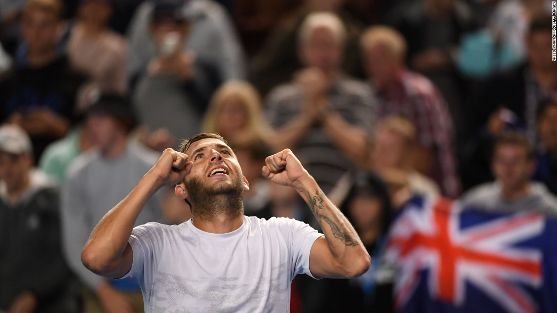 The 67th-ranked Evans' fairytale run continued as he beat home favorite Bernard Tomic  7-5 7-6 7-6 to reach the last 16 of a grand slam for the first time. The 26-year-old pulled a huge upset in the previous round as he disposed of seventh seed Marin Cilic. Tomic was Australia's last surviving player in the men's draw.