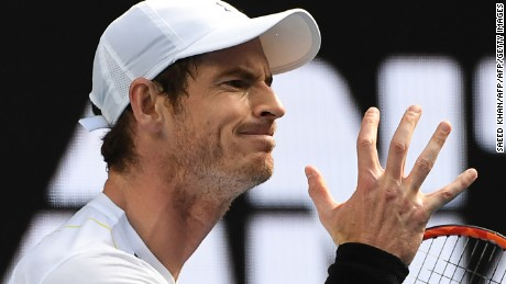 Britain's Andy Murray reacts after a point against Sam Querrey of the US during their men's singles third round match on day five of the Australian Open tennis tournament in Melbourne on January 20, 2017. / AFP / SAEED KHAN / IMAGE RESTRICTED TO EDITORIAL USE - STRICTLY NO COMMERCIAL USE        (Photo credit should read SAEED KHAN/AFP/Getty Images)