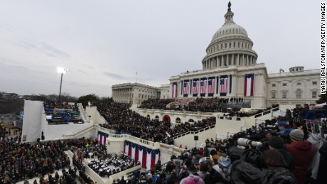 Guests fill the West Front of the US Captol in Washington, DC, on January 20, 2017, before the swearing-in ceremony of US President-elect Donald Trump.