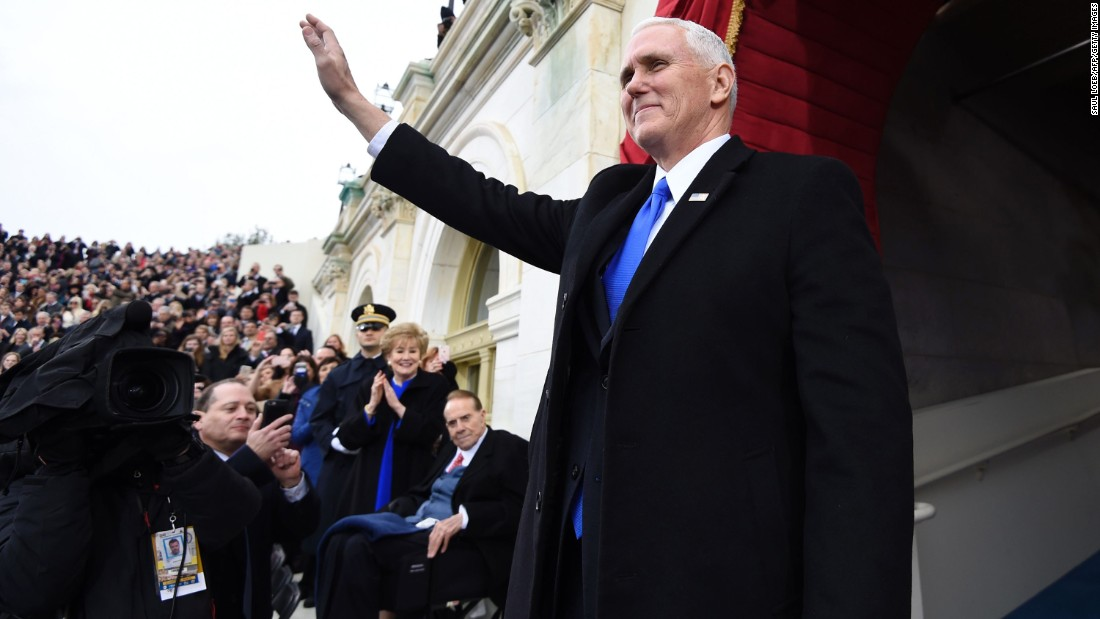 The vice president-elect arrives for the presidential inauguration of Trump at the Capitol in Washington on January 20, 2017.