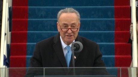 Sen. Chuck Schumer delivers remarks before Donald Trump is sworn in as president on Friday, January 20 in Washington, D.C.