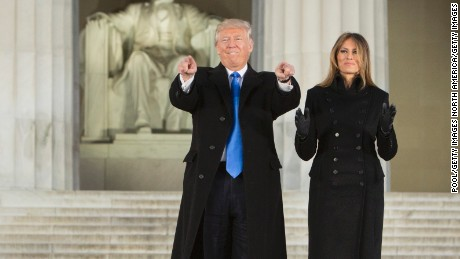WASHINGTON, DC - JANUARY 19:  (AFP OUT) President-elect Donald J. Trump and wife Melania Trump arrive for the inaugural concert at the Lincoln Memorial in January 19, 2017 in Washington, DC. Hundreds of thousands of people are expected tomorrow for Trump's inauguration as the 45th president of the United States.  (Photo by Chris Kleponis-Pool/Getty Images)