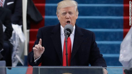 President Donald Trump delivers his inaugural address after being sworn in as the 45th president of the United States on Friday, January 20.