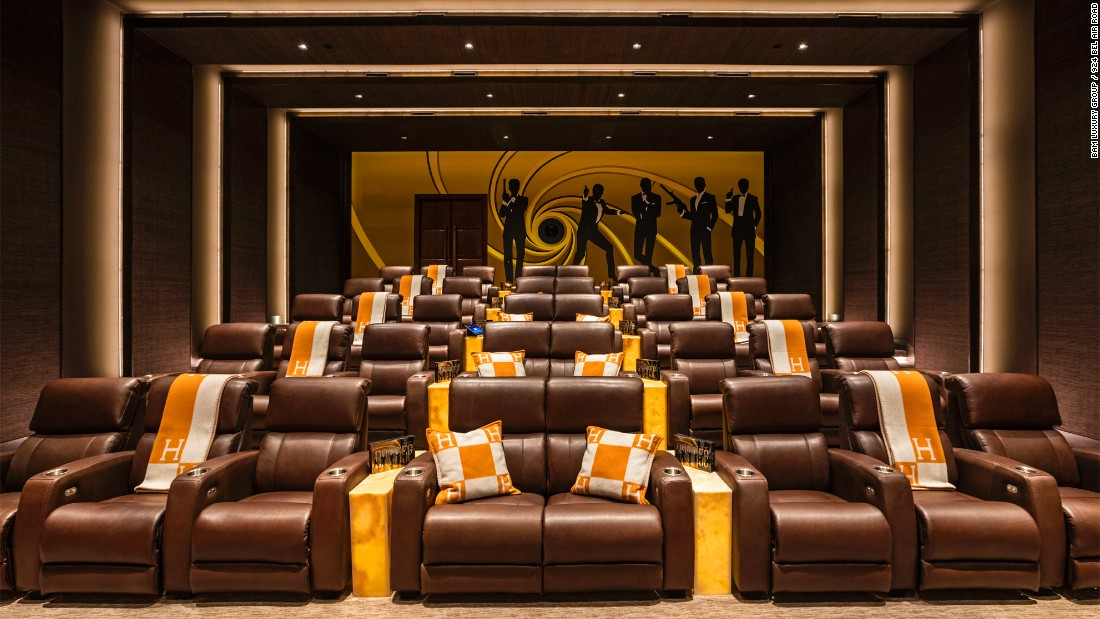 It features a 40-seat, James Bond-themed home cinema.