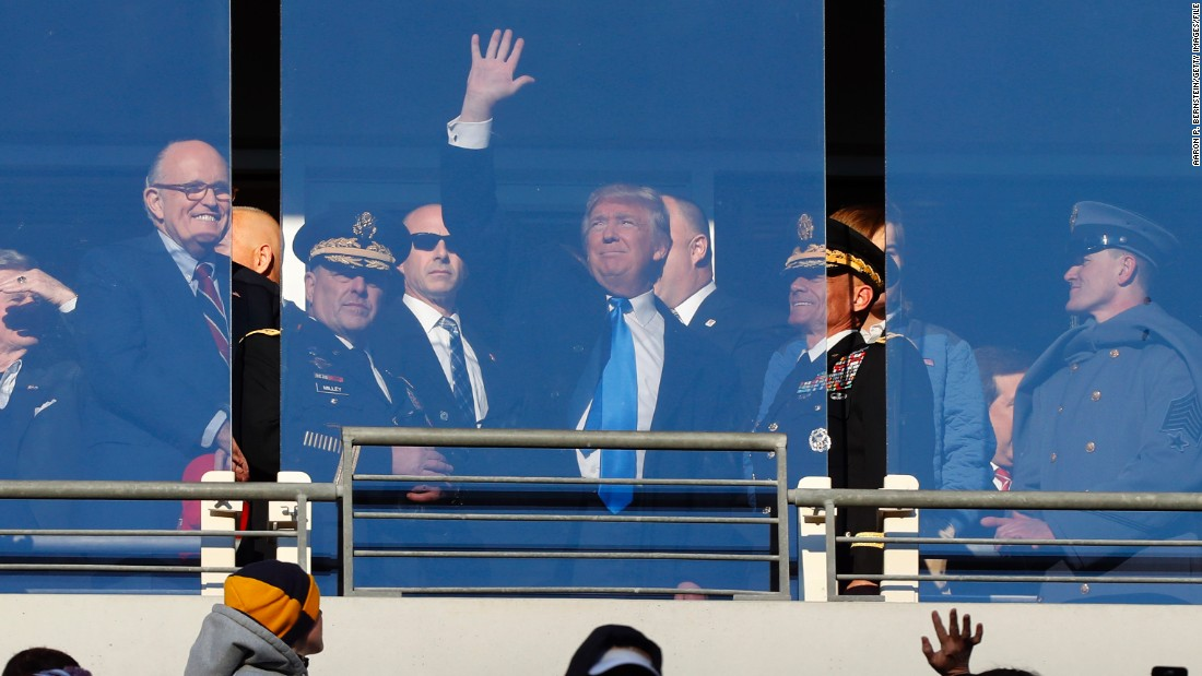Trump watches the American Football game between the Navy Midshipmen and the Army Black Nights in Baltimore in December 2016. Though he has never owned an NFL team, he did buy the New Jersey Generals in the United States Football League in the early 1980s, but the competition collapsed two seasons later.