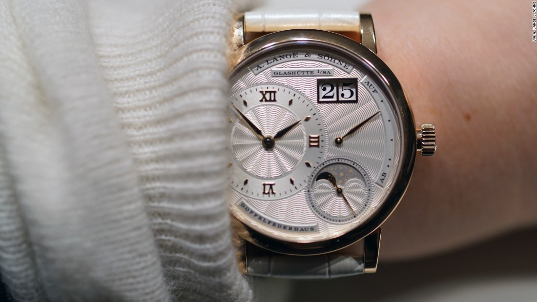 """A great example of a ""ladies"" watch done well. It's rose gold case is 36mm in diameter and the watch has a beautiful silvered guilloché dial made of solid gold. It's an interesting complication with <a href=""https://www.hodinkee.com/articles/a-lange-little-lange-1-moon-phase-hands-on"" target=""_blank"">Lange's</a> familiar and impressive finishing."" -- Cara Barrett"