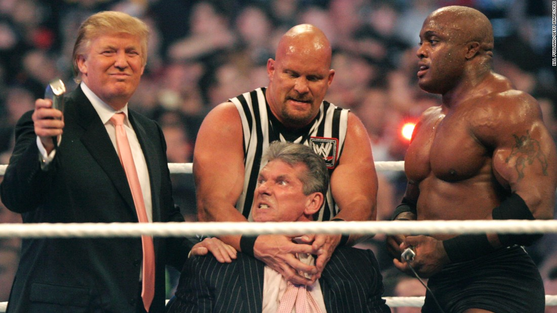 "Trump took part in WWE's Wrestlemania in 2007 for an event billed as the ""Battle of the Billionaires."" He shaved the head of WWE chairman Vince McMahon, held down here by Bobby Lashley (R) and ''Stone Cold'' Steve Austin, after winning a bet -- and even bodyslammed McMahon for good measure."