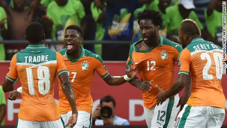 Ivory Coast's forward Wilfried Bony (2nd-R) celebrates with teammates after scoring a goal during the 2017 Africa Cup of Nations group C football match between Ivory Coast and DR Congo in Oyem on January 20, 2017. / AFP / ISSOUF SANOGO        (Photo credit should read ISSOUF SANOGO/AFP/Getty Images)