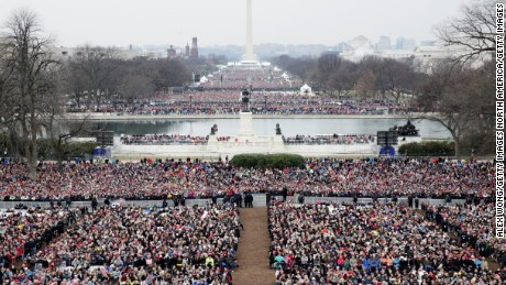 WASHINGTON, DC - JANUARY 20:  Spectators fill the National Mall in front of the U.S. Capitol on January 20, 2017 in Washington, DC. In today's inauguration ceremony Donald J. Trump becomes the 45th president of the United States.  (Photo by Alex Wong/Getty Images)
