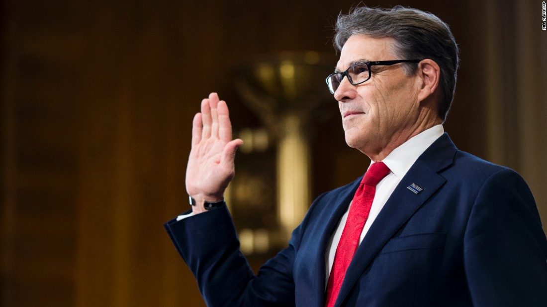 "Rick Perry, President Trump's nominee for secretary of energy, is sworn in before <a href=""http://www.cnn.com/2017/01/19/politics/rick-perry-hearing-energy-department/index.html"" target=""_blank"">his confirmation hearing</a> in on Thursday, January 19. Perry, who once felt the Department of Energy should be shut down, said at the hearing that he regrets calling for the agency's elimination."
