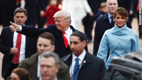 President Donald Trump and first lady Melania Trump walk alone the Inauguration Day Parade Route in Washington, Friday, Jan. 20, 2017, after being sworn in as the 45th president of the United States.