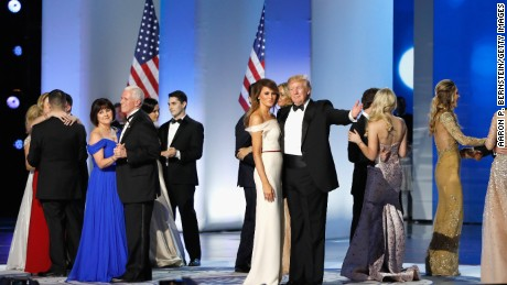 President Donald Trump, first lady Melania Trump, Vice President Mike Pence and his wife Karen dance with their families on stage at the Freedom Inaugural Ball at the Washington Convention Center January 20, 2017 in Washington, D.C.  President Trump was sworn today as the 45th U.S. President.  (Photo by Aaron P. Bernstein/Getty Images)