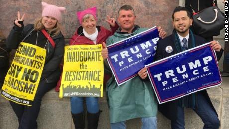 "Trump supporters, protesters, share ""Kumbaya"" moment"