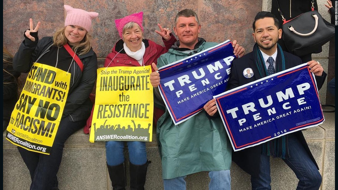 Protesters and Trump supporters share 'Kumbaya' moment