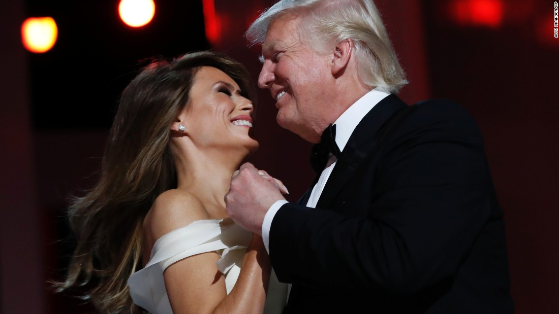 President Donald Trump dances with First Lady Melania Trump at the Liberty Ball, on Friday, January 20, in Washington.