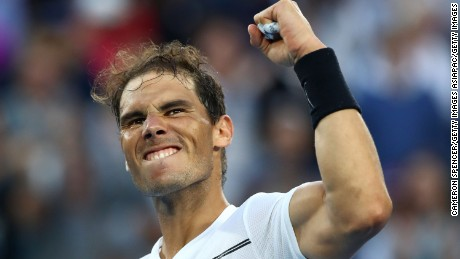 MELBOURNE, AUSTRALIA - JANUARY 21:  Rafael Nadal of Spain celebrates winning his third round match against Alexander Zverev of Germany on day six of the 2017 Australian Open at Melbourne Park on January 21, 2017 in Melbourne, Australia.  (Photo by Cameron Spencer/Getty Images)