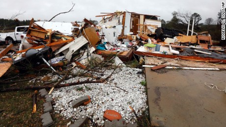 Virtually nothing remains of the home of Jessie and Diana Mills of Magee, Miss., following a direct hit by a possible morning tornado, Thursday, Jan. 19, 2017. Several homes and businesses were affected by the strong winds that affected several central Mississippi counties. (AP Photo/Rogelio V. Solis)