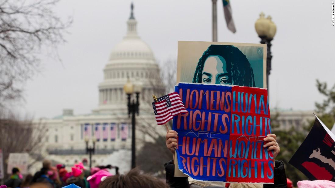 Women descend on Washington to protest Trump's agenda