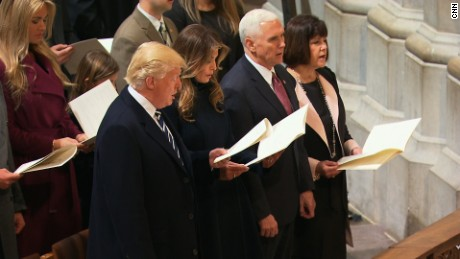 President Trump and first lady Ivanka Trump attend interfaith prayer at the National Cathedral in Washington