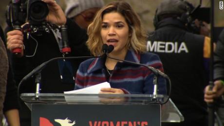 Actress America Ferrera gievs a speech at a women's march in Washington