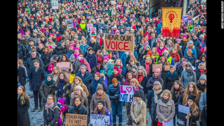 Demonstrators gather in Oslo, Norway, on Saturday, January 21, to show solidarity with the Women's March on Washington and other protests around the world. The goal of the marches is to raise awareness of women's rights and other civil rights participants fear could be threatened under Donald Trump's presidency.