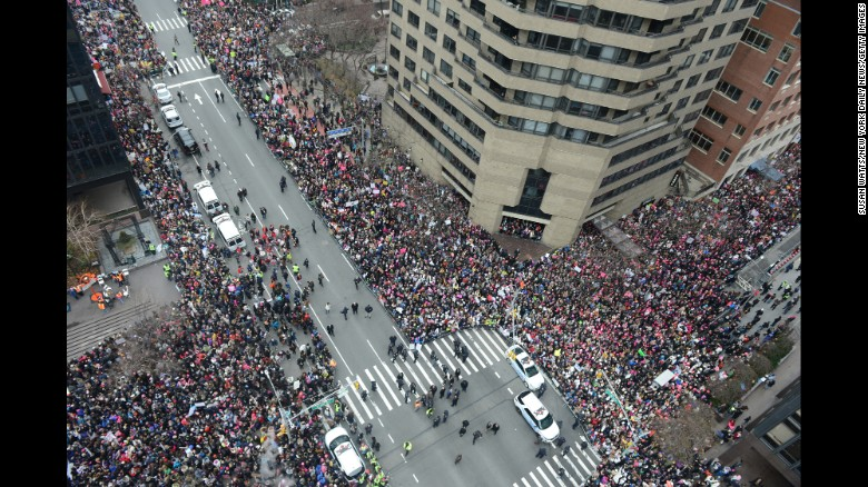 Thousands of participants converge on Dag Hammarskjold Plaza and 2nd Avenue during the Women's March in New York City.