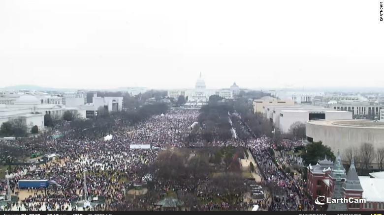 A screengrab of the EarthCam feed from the National Mall before the Women's March