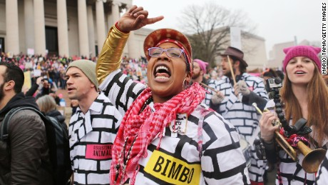 A woman chants while attending the Women's March on Washington on January 21, 2017 in Washington, DC. Large crowds are attending the anti-Trump rally a day after U.S. President Donald Trump was sworn in as the 45th U.S. president.