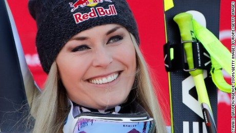 GARMISCH-PARTENKIRCHEN, GERMANY - JANUARY 21: Lindsey Vonn of USA takes 1st place during the Audi FIS Alpine Ski World Cup Women's Downhill on January 21, 2017 in Garmisch-Partenkirchen, Germany (Photo by Stanko Gruden/Agence Zoom/Getty Images)