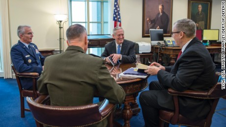"""Secretary of Defense James Mattis hosts his first """"Top 4"""" roundtable after arriving at the Pentagon in Washington, DC, Jan. 21, 2017. Also in attendance were Deputy Secretary of Defense Bob Work; US Marine Corps Gen. Joseph Dunford, Chairman of the Joint Chiefs of Staff; and US Air Force Gen. Paul Selva, Vice CJCS. (DOD photo by Air Force Tech. Sgt. Brigitte N. Brantley)"""