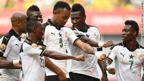Ghana's forward Asamoah Gyan (2nd-R) celebrates with teammates after scoring a goal during the 2017 Africa Cup of Nations group D football match between Ghana and Mali in Port-Gentil on January 21, 2017. / AFP / Justin TALLIS        (Photo credit should read JUSTIN TALLIS/AFP/Getty Images)