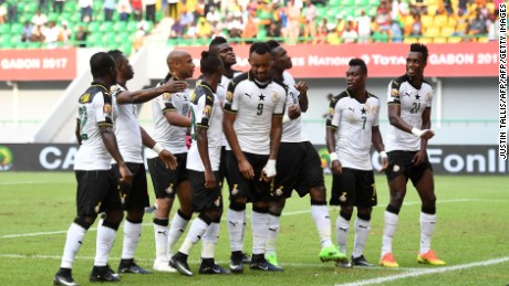 Ghana's players celebrate Asamoah Gyan's winning goal with a trademark choreographed dance.