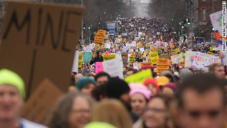 Protesters attend the Women's March on Washington on January 21, 2017 in Washington, DC. Large crowds are attending the anti-Trump rally a day after U.S. President Donald Trump was sworn in as the 45th U.S. president.