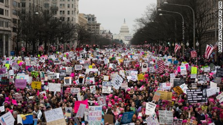 Crowds descend on Washington for the Women's March in January.