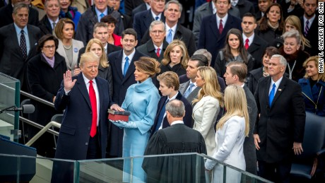 President-elect Donald Trump takes the oath of office to become President of the United States during his Inauguration on the West Front of the US Capitol in Washington, DC.