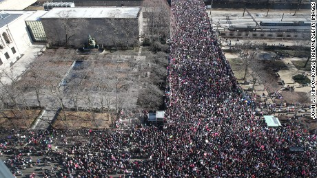 Crowds gather on Jackson Boulevard for the women's march in Chicago the day after President Trump's inauguration, on Saturday, January 21, 2017.