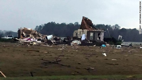 Severe storms left damage in southern Georgia along I-75 between the towns of Adel and Hahira.