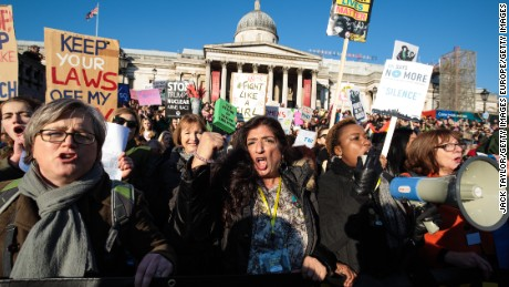 LONDON, ENGLAND - JANUARY 21: Protesters chant as they arrive in Trafalgar Square during the Women's March on January 21, 2017 in London, England. The Women's March originated in Washington DC but soon spread to be a global march calling on all concerned citizens to stand up for equality, diversity and inclusion and for Women's rights to be recognised around the world as human rights. Global marches are now being held, on the same day, across seven continents. (Photo by Jack Taylor/Getty Images)