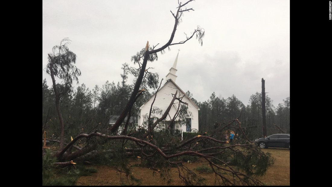 Trees fell and damaged the steeple of Zoar United Methodist Church near Baxley on January 22.