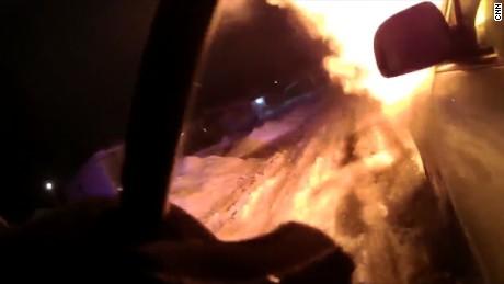 police burning car rescue
