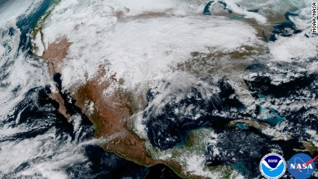 On January 15, GOES-16 captured this image of a significant storm system that caused a large swath of ice across the central United States.