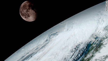 GOES-R captured this spectacular image of the moon just peeking over earth's horizon on January 15, 2017.